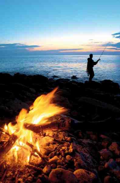 I sommerhalvåret er der gode muligheder for natfiskeri på Enebærodde.