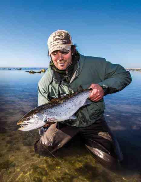 Allan Overgaard med en flot fluefanget 3'er. Selvom sådanne fisk ikke hænger på træerne er der gode chancer i maj.