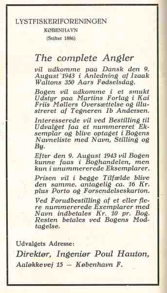 Annonce fra Sportsfiskeren 1942. Som det fremgår, står der, at det er Kai Friis-Møller som skal oversætte. Det blev aldrig til noget. I stedet blev det Johanne Kastor Hansen.