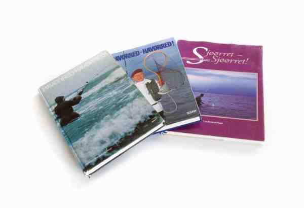 Kurts bog Havørred – Havørred! i hhv første og anden udgaven – samt den meget flotte version på norsk fra 1994.