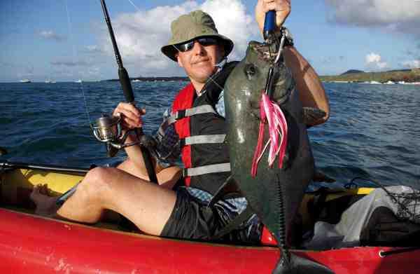 Jacks hugger vildt på plaskende overflade-agn og kan fanges stort set overalt. Jo hurtigere man fisker, desto mere tirrede bliver de. Denne er fanget lige ud for hytten.