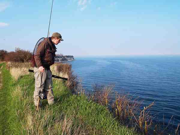 Magnus tjekker stigen til fiskevandet ved Stevns Klint – en ret angstprovokerende oplevelse de første gange.