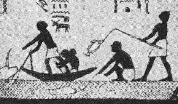 Frisen fra Ben Hassans gravkammer er den ældste kendte tegning med en person som fisker med stang. Manden på hug og fiskerne i båden anvender net, men ham med stangen er den eneste der har fangst.
