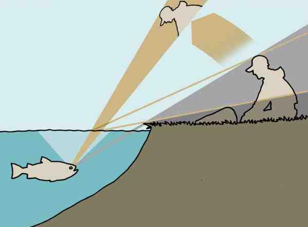 Selv når der ikke er direkte udsyn fra fiskens øje til fiskeren, vil fisken ofte kunne se én alligevel – fisken vil blot se en illusion af en fisker, der er højere oppe og tættere på end i virkeligheden.