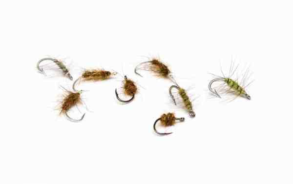 Et sortiment af mine favoritfluer til fiskeriet efter undslupne regnbuer i rolige forhold, men jeg anvender også helt almindelige havørredfluer på mere blæsende dage.