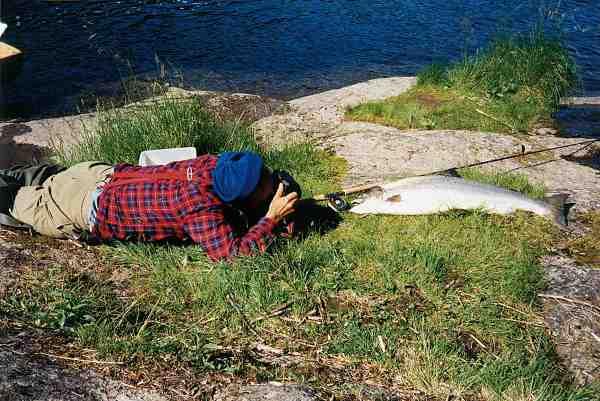Jens Ploug var fra starten klar over, at skulle man leve af at fotografere og skrive om lystfiskeri i Skandinavien, skulle der i høj grad nytænkning til. Hans måde at vinkle situationen på, har i høj grad præget nutidens fiskefotografer. Da det var før digitalkameraet var på banen, kunne det godt koste mere end en rulle film, før han mente det rigtige motiv var i kassen. Her er det en norsk laks der må stå model.