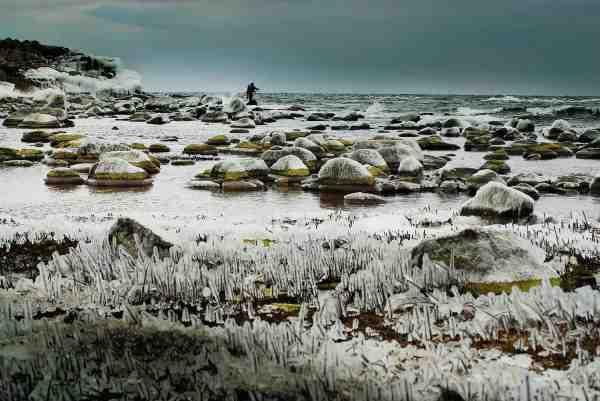 Pålandsvind på Bornholms østkyst i frostvejr med vandtemperatur under nul. Alt bliver pakket ind i det fineste lag is og der skal arbejdes for at holde varmen.
