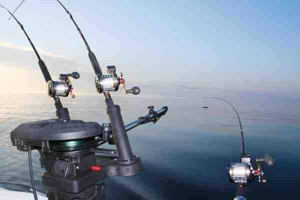 Stangholdere, downriggere og masser af stænger og hjul med linetællere er bare noget af det udstyr der skal til, når der trollingfiskes.