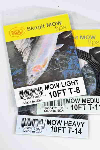 Rios MOW Tips, opkaldt efter Mike McClune, Scott O'Donnel og Ed Ward, kan med fordel tilkøbes, selvom de egentlig er udviklet til deres Skagit-systemer. Scandi Short VersiTip vender uden problemer T8 og T11 synkespidser. Den kan til nød vende en T14, men det er lidt besværligt, og definitivt på grænsen. Jo lettere klasse man fisker med, jo sværere får linen naturligvis med at kaste med de ekstra tunge spidser.