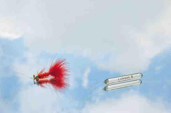 Vetrino'er som denne Micro-barda fra Lawson har især et potentiale i P & T søerne, når der skal fiskes hurtigt og/eller dybt. De er fx gode i kombination med propelfluer som denne, der skal op i en vis hastighed, for at få propellen til at køre godt. Når forholdene kræver, at fluen skal fiskes langsomt, er ventrinoer'ne mest aktuelle til flydende pop-up fluer, der fiskes lige over bunden med loddet slæbende over bunden