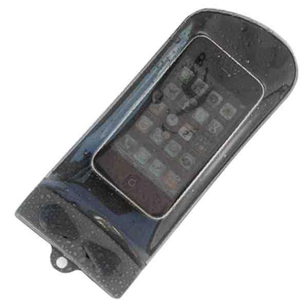 En våd modbil er en død mobil. Et vandtæt hylster til mobilen som dette fra Aquapac kan derfor redde dit liv, hvis uheldet er ude. Set hos www.friluftsland.dk