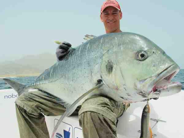 Danskeren Thomas Munksgaard havde en suveræn tur til Oman i marts måned i år. Her er han med en stor 40 kilos GT taget på en stor Sebile splasher popper.