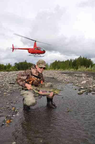 Det blev til fire forskellige laksearter på vores tur. Her poserer Gustav med farvet chum salmon som vi fik en del af på Chunilna Creek. I baggrunden letter et hold nordmænd, der skulle flyves højere op af floden.