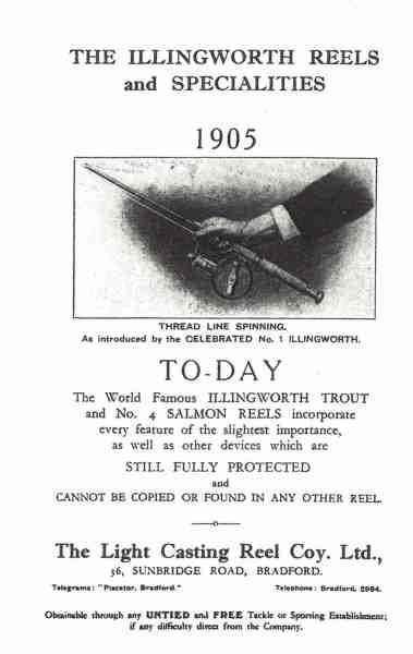 Annonce fra 1905, som omtaler det helt nye indenfor fiskehjul – fastspolehjulet. Det er fremstillet af Alfred Holden Illingworth fra Bradford i England, men minder langt fra, hvad vi i dag forstår ved et fastspolehjul.
