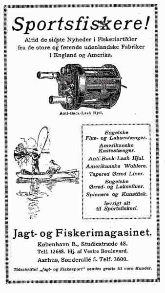 Tidlig reklame fra Jagt- og Fiskerimagasinet i Studiestræde. Som det fremgår kom det meste grej fra enten USA eller England.