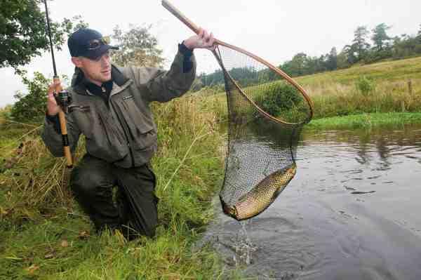 Med sikker hånd lander Esben en fin 60 centimeters fisk.