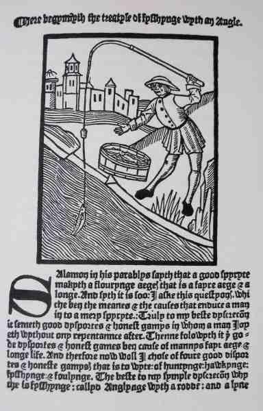 Den første side i Dame Julia Berbers bog fra 1496.