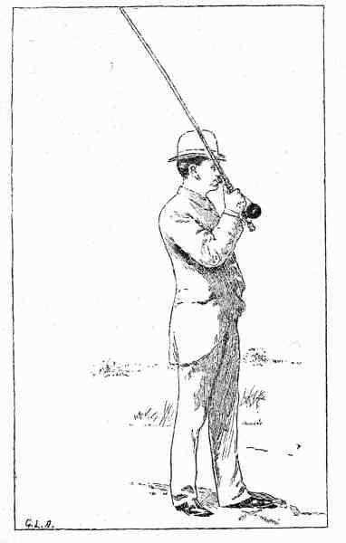 Illustration fra Illustreret Idrætsbog fra 1893. Tegningen viser »Kastning med Fluestang«. »At lære dette af en beskrivelse er vanskeligt om ikke umuligt, det bedste er at få undervisning af en dygtig medfisker«, fremgår det af teksten.