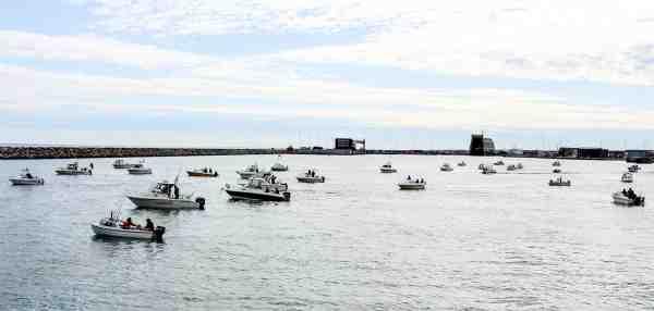 Bådene inden starten i 2015 fra Hirtshals Havn.