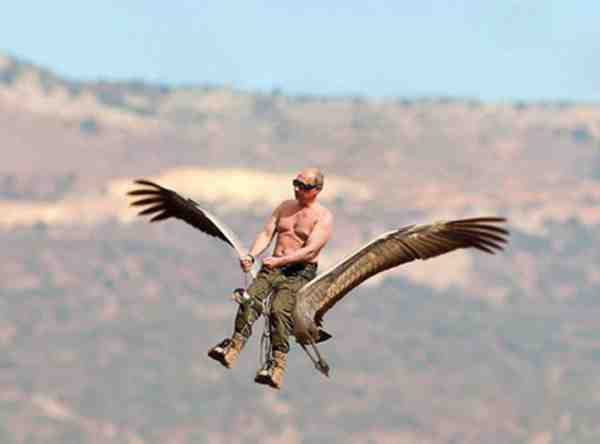 En af historierne om Putins mange bedrifter, går på at Putin i dragefly hjalp en flok traner med at finde vej, det har en kreativ opfindsom russisk blogger fået denne morsomme situation ud af.