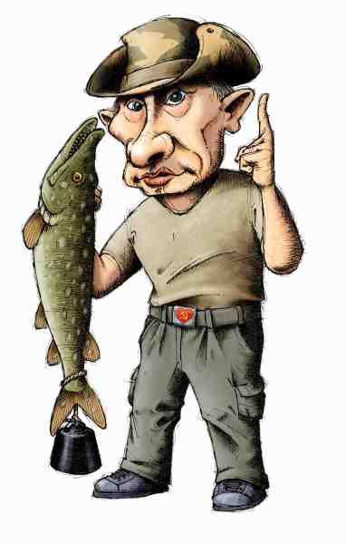 En russisk blogger mente at Putin måtte have fyldt gedden med guldbarrer, men Fisk & Fri's tegner Carsten Madsen har en lidt anden opfattelse af den bizarre situation.
