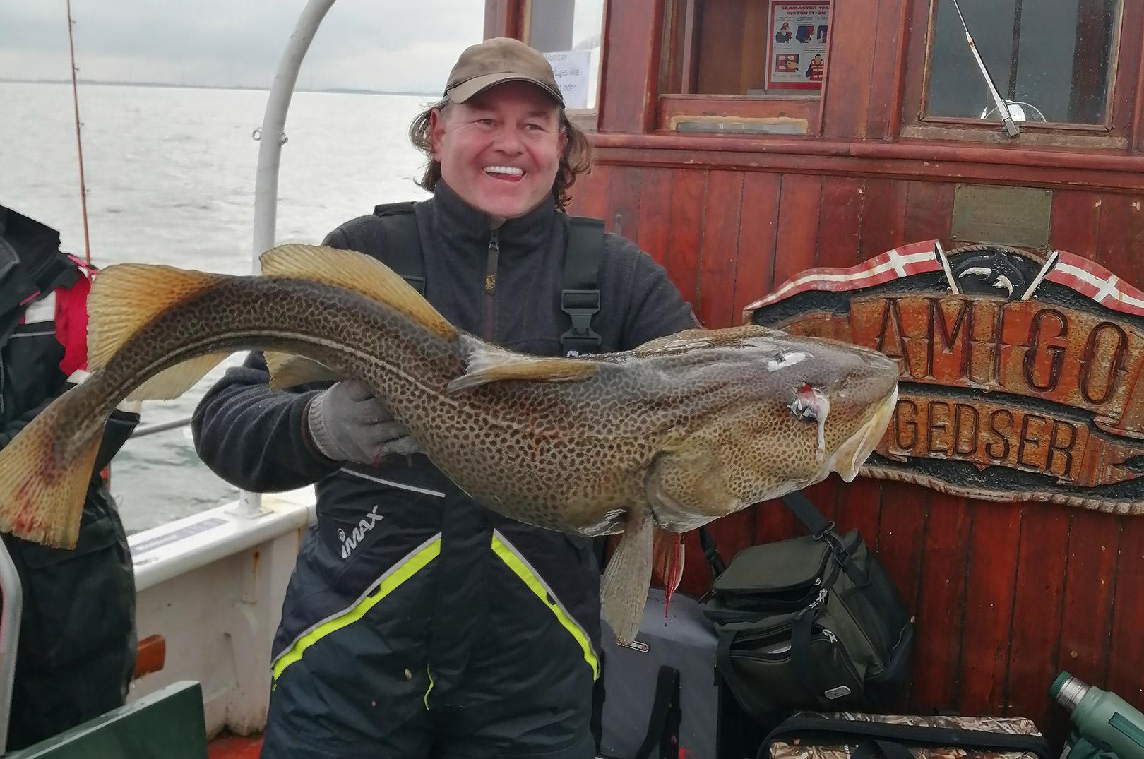 Tom Henriksen med 13 kilos torsk fra Langelandsbæltet