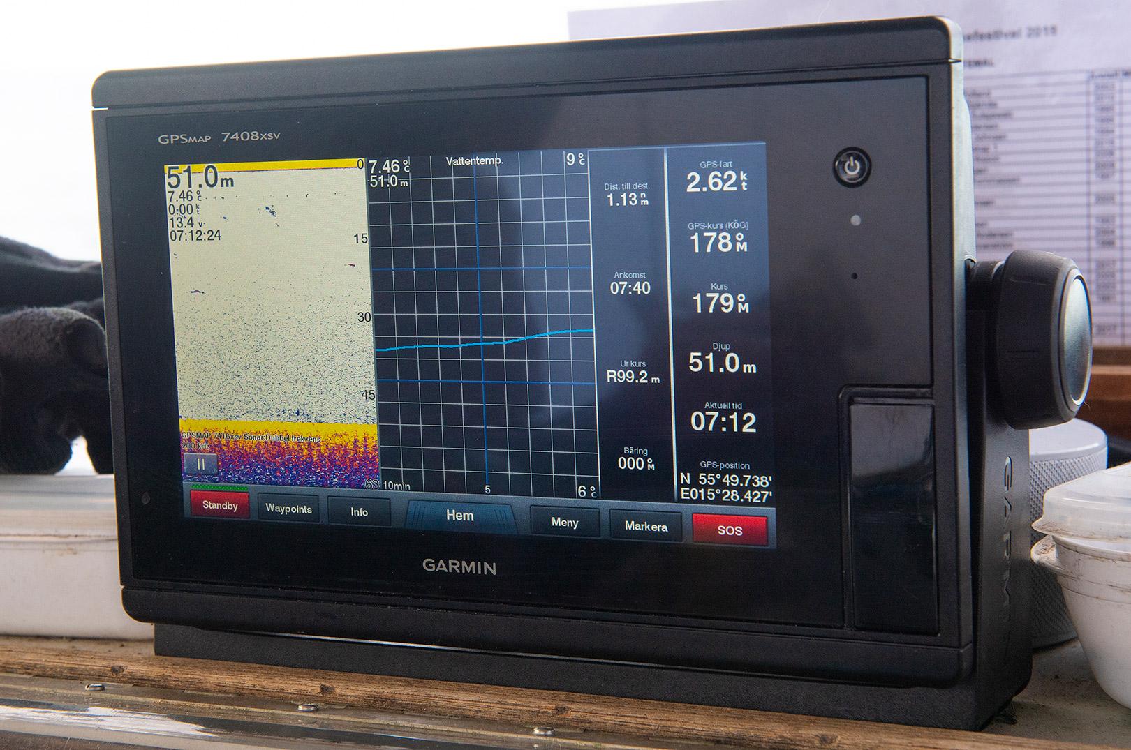 Pelle bruger marineelektronik fra Garmin
