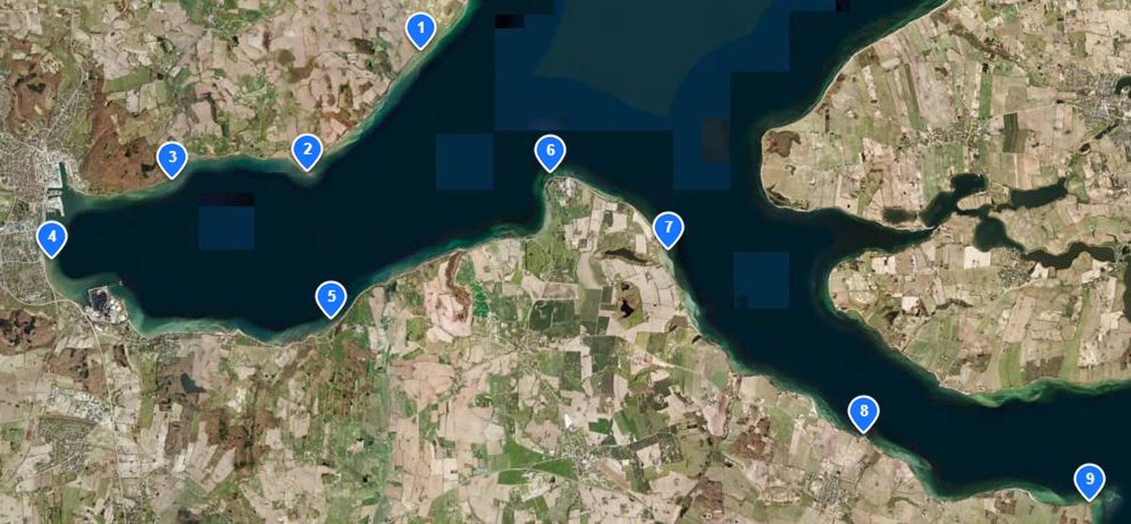 Kott over havørredpladser ved Aabenraa