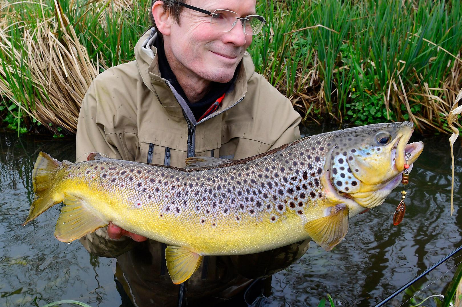 Bækørred fanget på Mepps str. 3 fisket med Claw Connector