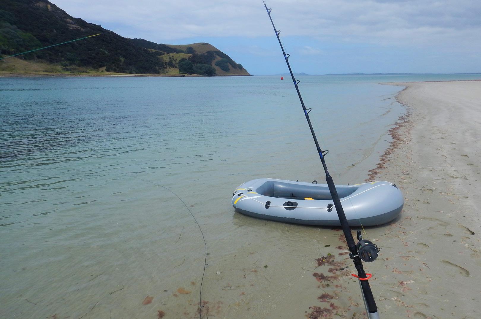 Her kan du se Christians set-up da han fiskede efter hajer på New Zealand.
