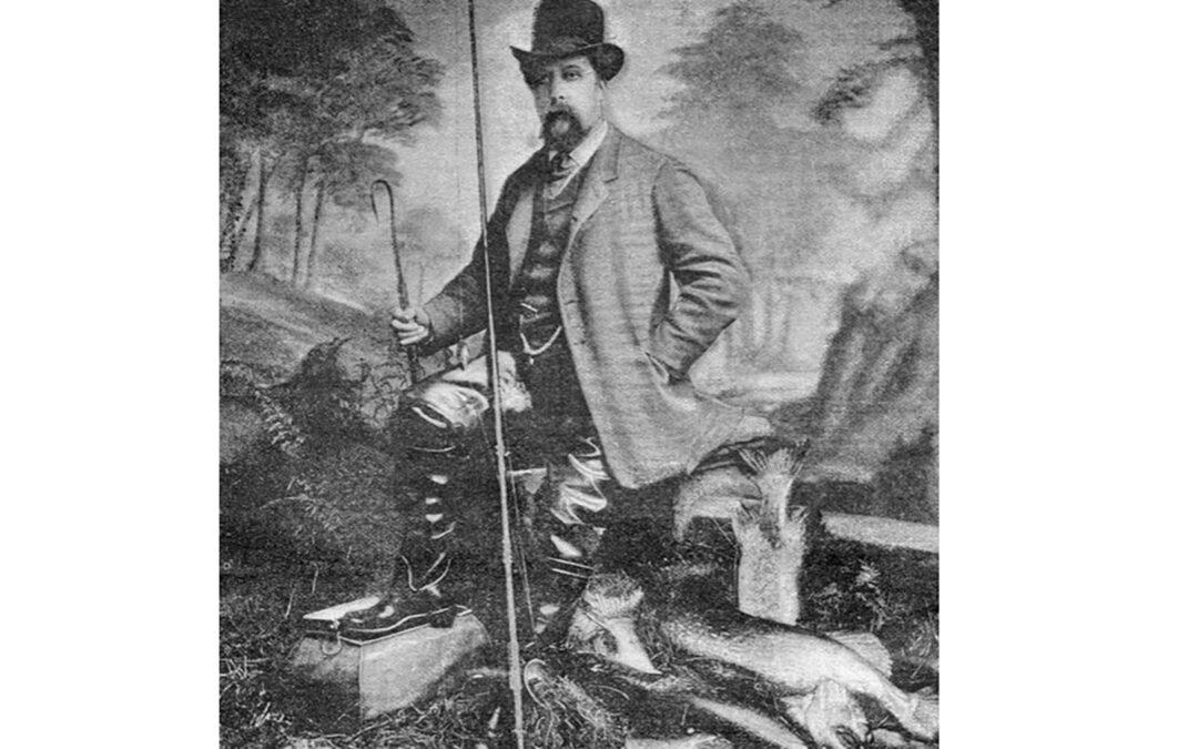 Alfred Jardine fotograferet med sine imponerende geddefangster. Formodentlig omkring 1883.