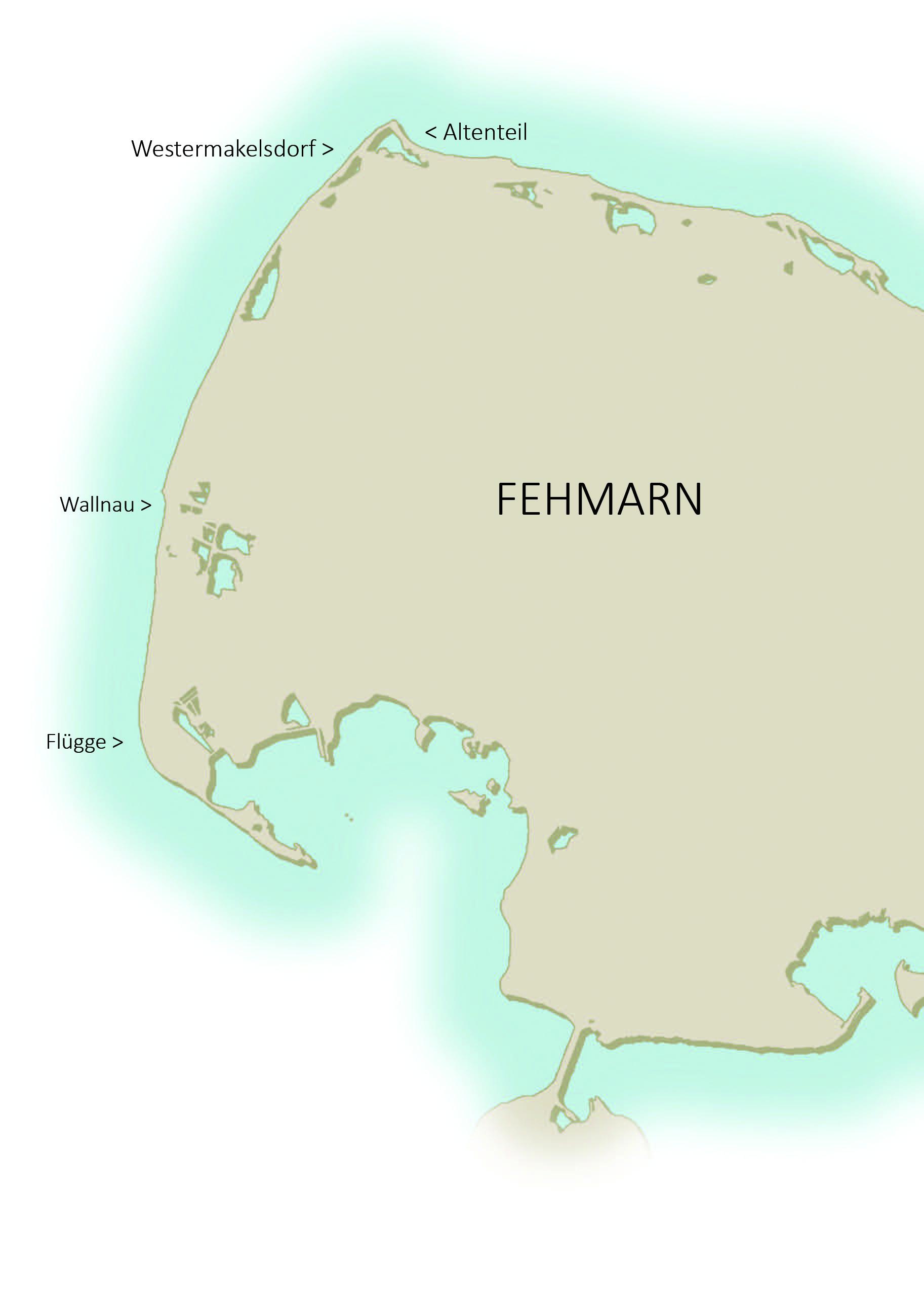 Kort over de bedste havørredpladser på Fehmarn
