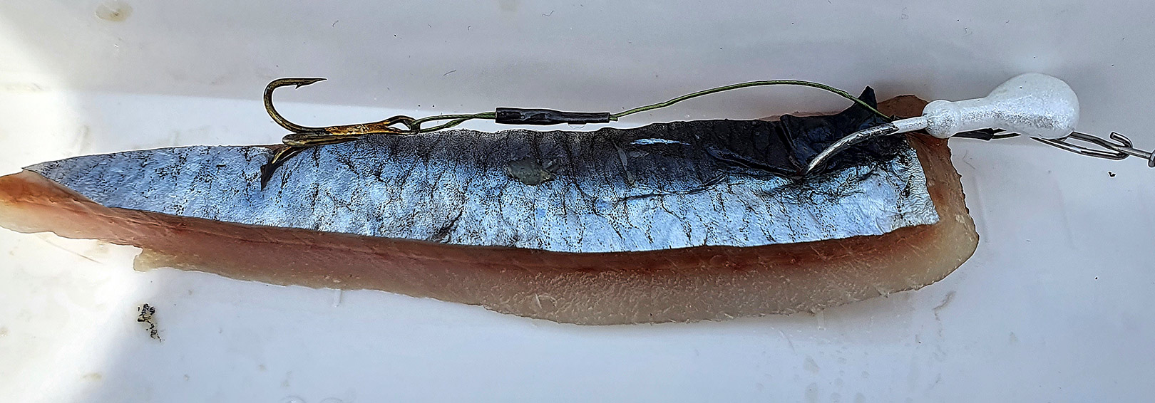 Her ses det lille jighoved samt stingeren i str. 10 monteret på et smalt konisk sildestykke. Silden er skåret sådan, for at få det til at flakse lidt i strømmen. Jeg bruger primært stykker fra den nederste halvdel af silden, da det har den lyseste farve, og derved skinner mest i vandet.