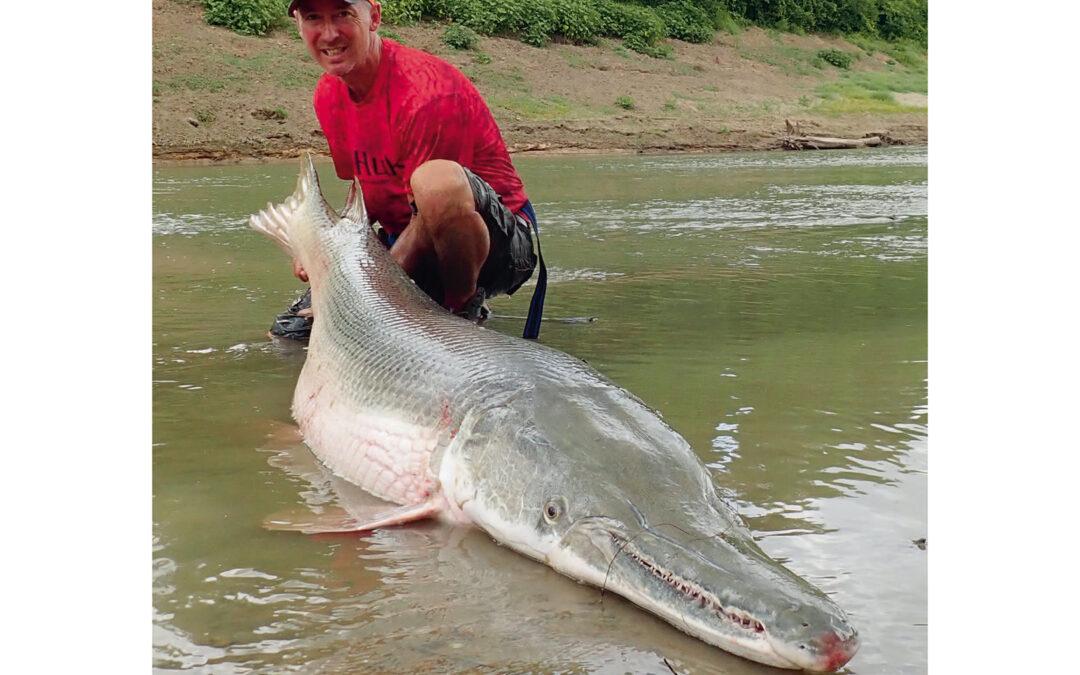 Jan Larsen med en af de største alligator gars der nogensinde er taget i Trinity River i Texas.