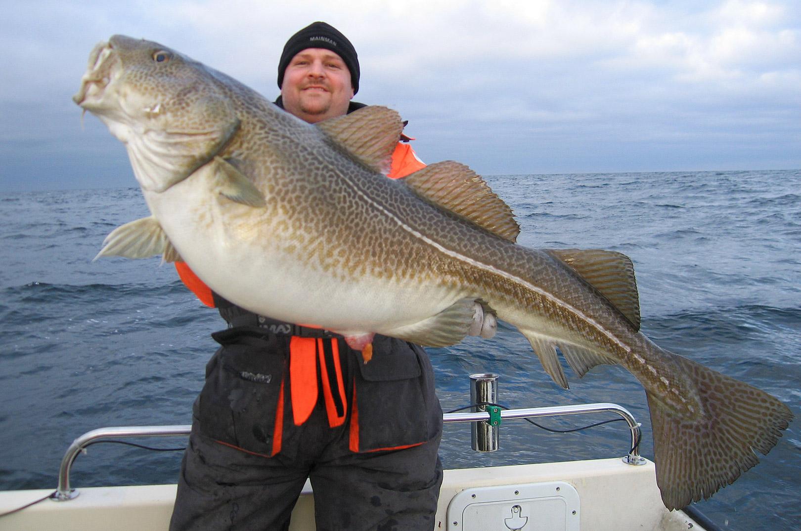 Casper med sin PFB torsk på 29,3 kilo fra havet ud for Stevns.