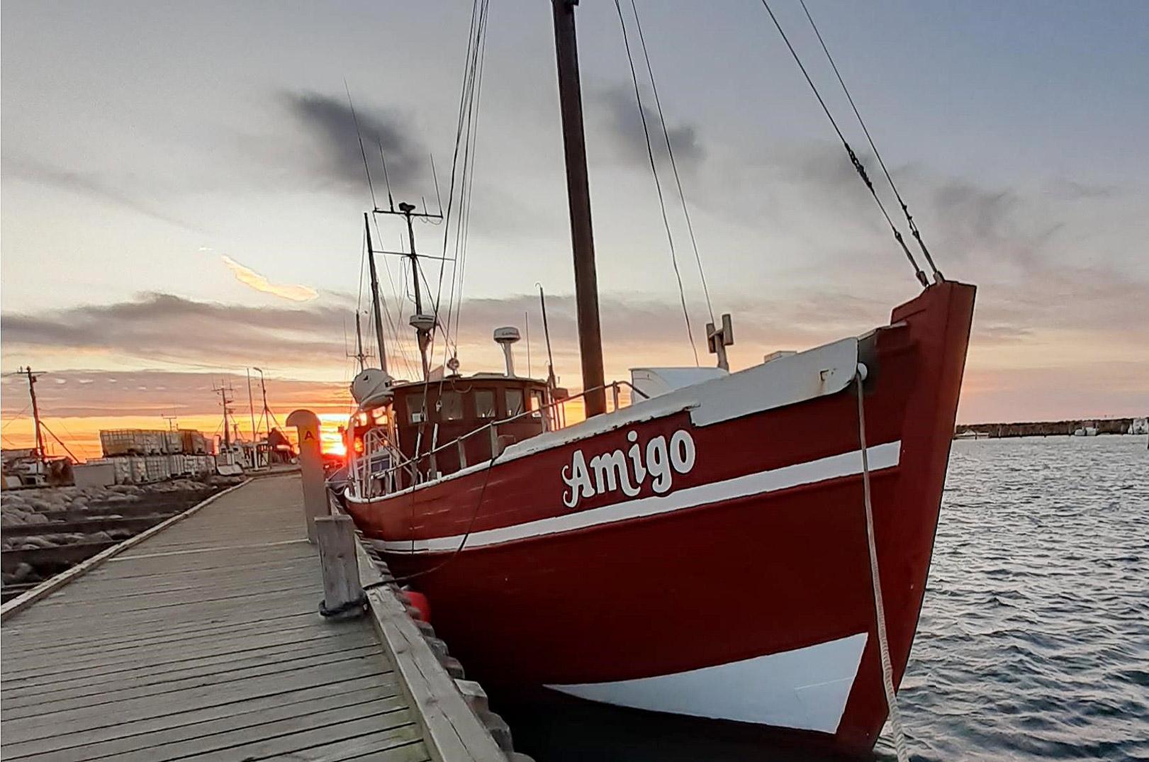 En fladfisketur med M/S Amigo på Langelandsbæltet er altid hyggeligt.