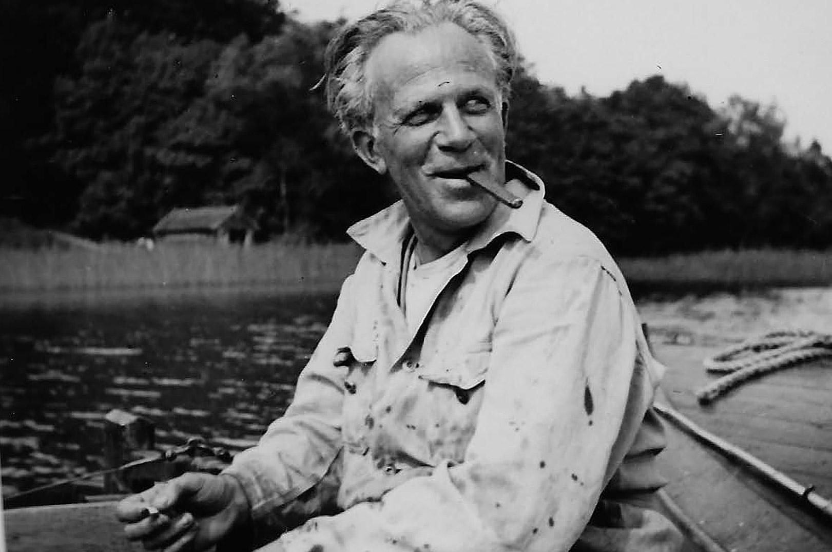 Foto fra Lystfiskeriforeningens fotoalbum. På søen var Methling i sit es. Han var udenfor Verona.