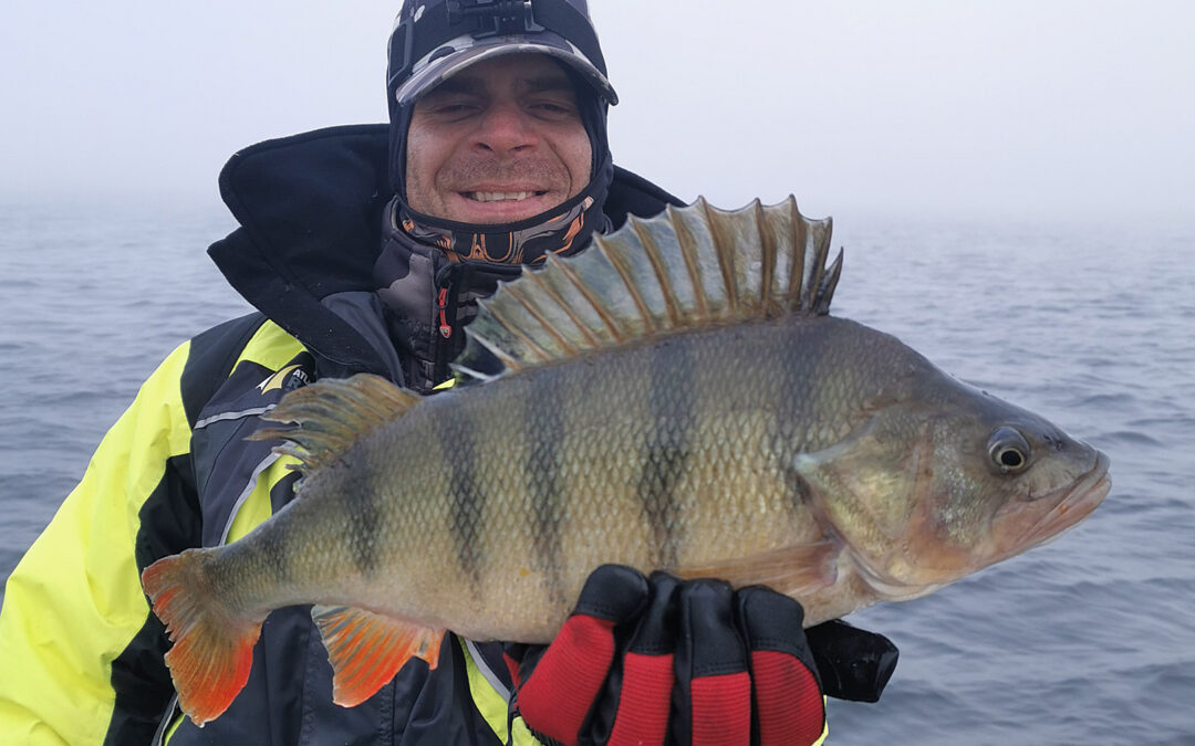 Adam Snarski med sin flotte 49 cm aborre taget på pirk
