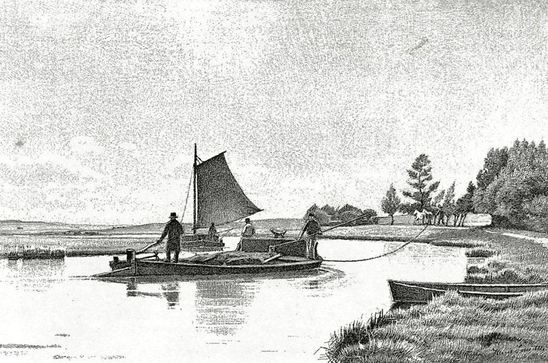 Pramdragning var tidligere en almindelige transportform til forskellige handelsvarer på Gudenåen