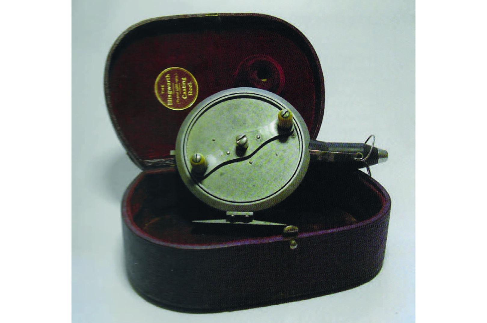 Illingworths første udgave af et fastspolehjul. Det var en eksklusiv sag. Læg mærke til den flotte æske.