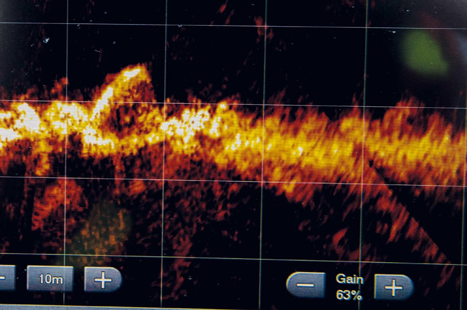 Sådan ser Kollekolle stenene på Furesøen ud med Garmin LiveScope.