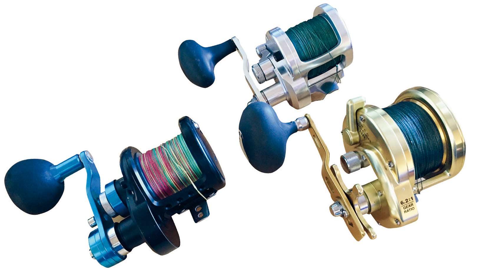 Tre råstærke havhjul i cirka samme størrelse fra Daiwa, Avet og Shimano. Hjulene er som jeg foretrækker dem uden linefører. Om hjulet skal have stjernebremse som Shimanoen nederst til højre eller lever-drag som de to andre er et spørgsmål om temperament.