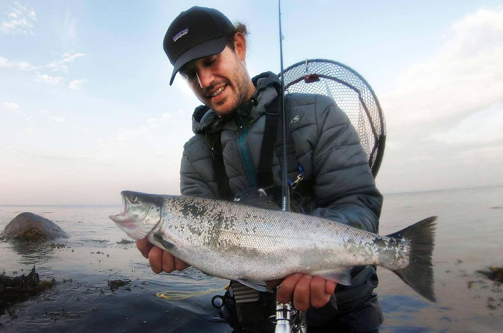 Filippo med sin 50 cm fisk. Øverst Stefano Cirus med sin flotte 70 cm havørred taget på kystwobler.