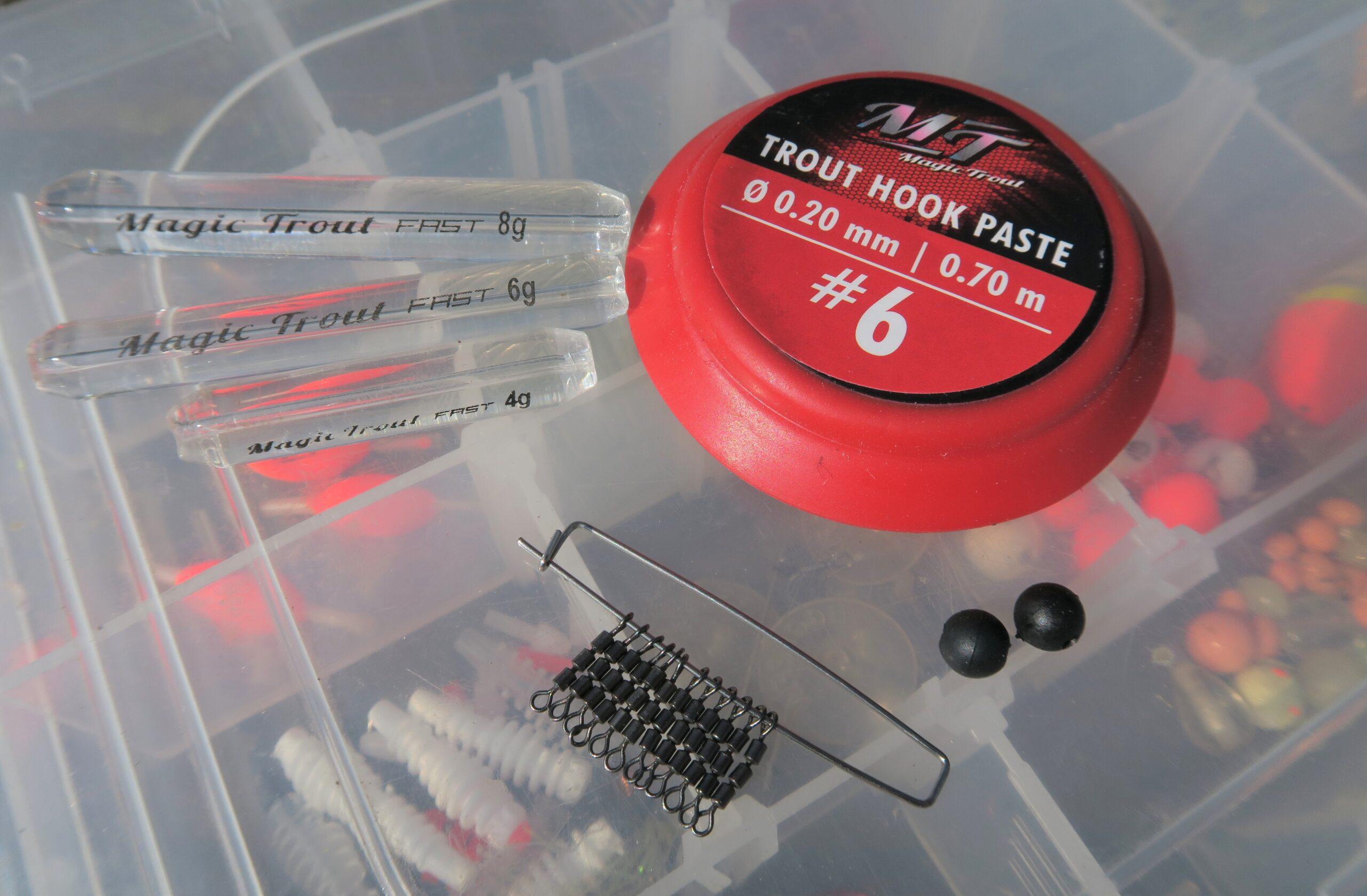 Ghost Glass i forskellige vægte, gummiperler, Trout Hook Paste forfang og High Speed Swivel. Alt hvad man skal bruge til denne effektive fiskeform. Trout Hook Paste forfangene kommer på rulle, så de er lige til at montere i svirvlen.