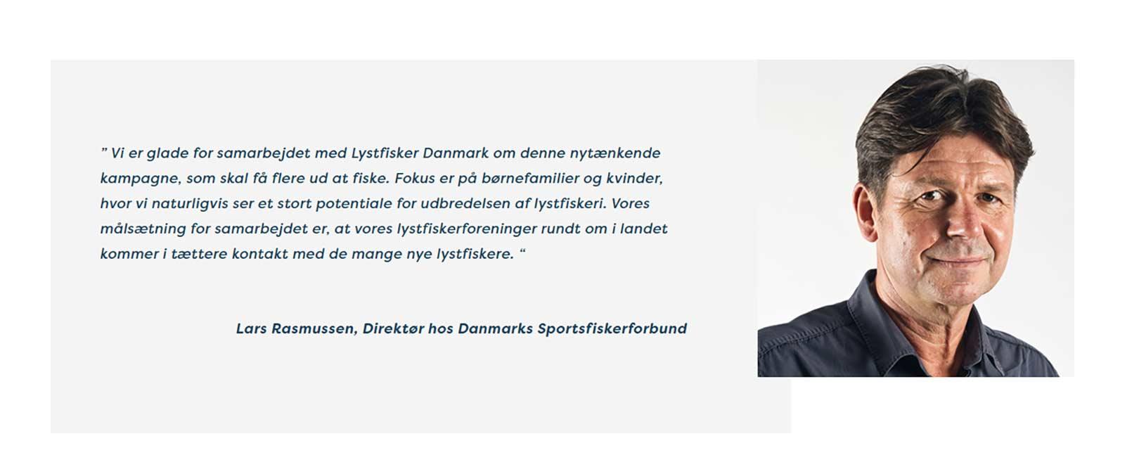 DSFs direktør Lars Rasmussen siger at DSF samarbejder med fiishinginddenmark.info om at få flere nye lystfiskere, mens DSFs formand siger at arbejdet for flere lystfiskerturister nedtones.