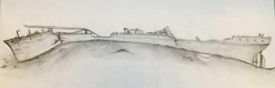 Allan Jensen, der har dykket meget på SS Robert, er mester for denne tegning, så man kan se hvordan skibet ligger på Øresunds bund. Det ser ud som om kollisionen er sket i bagbords stævn.