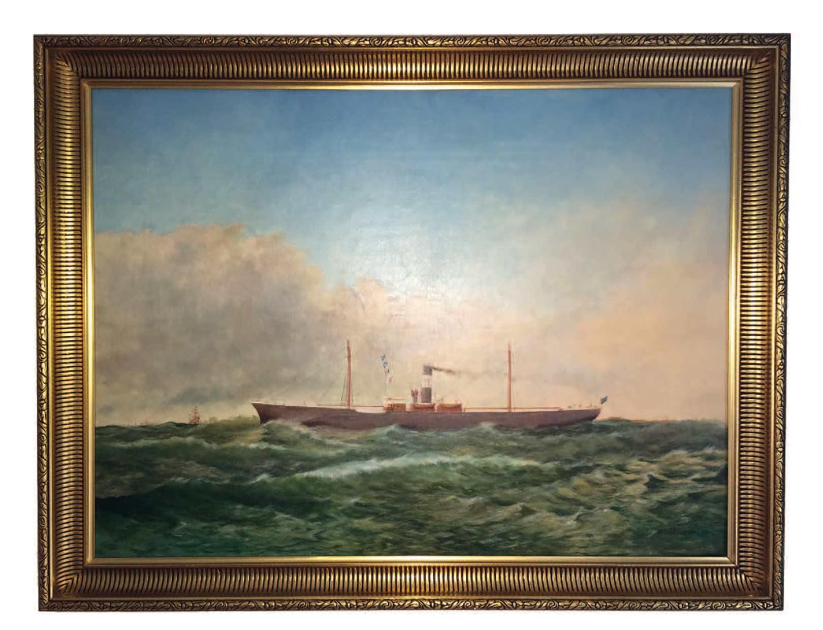 Skibsportrætter var meget populære blandt reddere fra midten af 1700 tallet og frem til fotografiet blev almindeligt. Her er maleriet af SS Robert, der sank ved en kollision og nu ligger på bunden af Øresund nord for Hven. Portrættet tilhører fritidsdykker Allan Jensen.