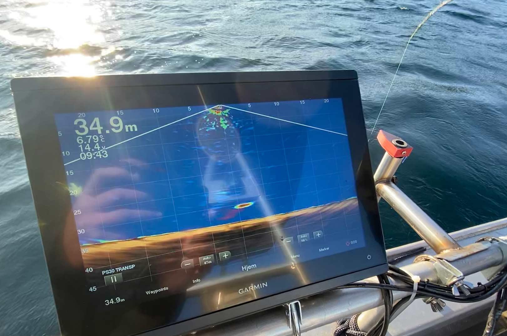 Her kan de se hvordan en solidt kroget storflynder ser ud på skærmen med en Panoptix PS-30 transducer.